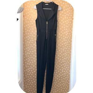 A'gaci Front Zip Sleeveless Collard Jumpsuit